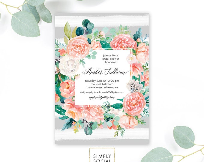 Pink Floral Greenery Bridal Shower Invitation - Grey Stripes - Baby Shower Invitation - Peony Blush Invitation Watercolor Printable