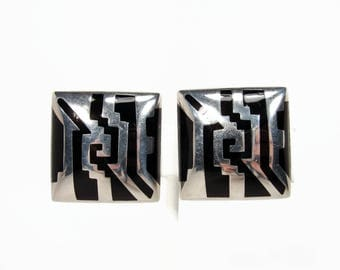 Vintage Sterling Silver Black Onyx Earrings, Made In Mexico, Marked ATI 925, Clip On Earrings, Mexican Silver Vintage Jewelry