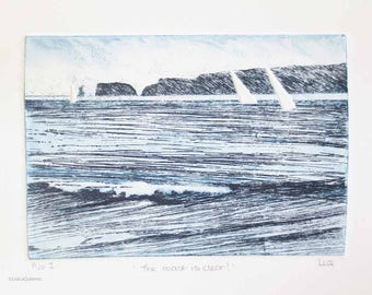 Original artist proof etching monoprint print of yachts sailing around the headland