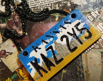 Hand painted Resin license plate necklace