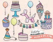 Birthday Clipart Set, Vector Clip Art, Kawaii Graphics Instant Download, Commercial Use, Spring, Rainbow Pastel, Party Invitation, Kids
