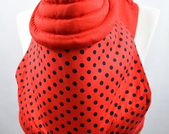 MEI TAI Baby Carrier / Sling / Reversible / Polka Dots Red and Black with Red in straight cut model