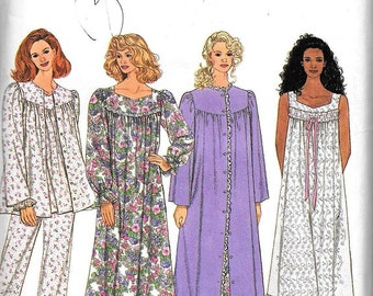 Simplicity 8748 Sewing Pattern Misses  2 Lengths Robe Nightgown Pajamas UNCUT Size Xs, S, M