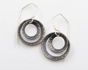 Sterling Silver - Double Disk Earrings
