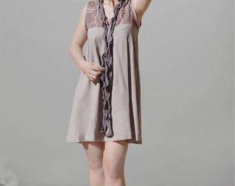 Ruffled beige tunic / dress embroidery