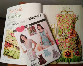 Apron sewing pattern and magazine gift set. Apronology volume 3, Sewing pattern for ladies kitchen apron for gift giving