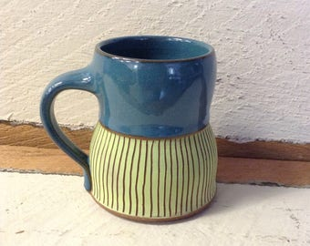 Coffee Mug in Blue with Chartruce Sgraffito
