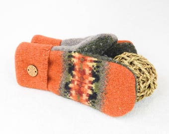 Felted Wool Mittens PUMPKIN SPICE Orange Mittens Fair Isle Felted Sweater Wool Mittens Fleece Lined Mitts Wool Gloves for Her by WormeWoole