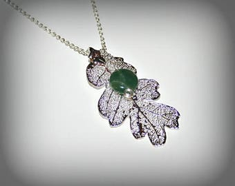 Electroplaquee silver oak leaf and tourmaline