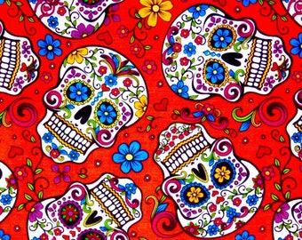 END OF BOLT 31 inches, Sugar skulls fabric, Calaveras, Skulls, Day of the Dead, Latin culture, 100% cotton fabric for all sewing projects
