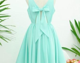 Mint blue dress blue backless dress blue party dress blue prom dress blue cocktail dress bow back dress blue bridesmaid dresses