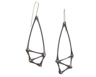 Oxidized Silver Geometric Earrings