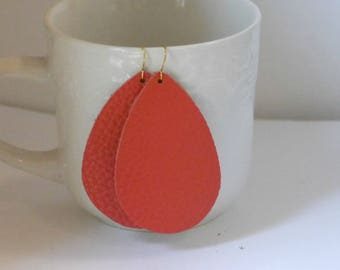 Coral Texture Leather Teardrop Drop Earrings