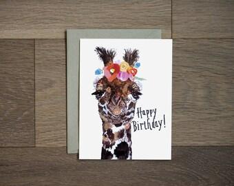 Happy Birthday card - giraffe card - illustration - flower art - hand lettering