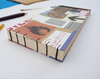 Sketchbook, long, recycled, labels, elastic,