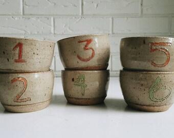 Handmade Ceramic Numbered Cup Dessert Bowls Set of 6 - Earthy Bohemian Pottery - Modern Minimal Decor