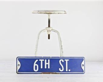 Vintage Street Sign Vintage Road Sign Blue And White Street Sign Old Street Sign Metal Street Sign 6TH Street Sign Industrial Decor