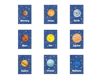 Kids Solar System Prints - 5 x 7 Planets and Sun Prints - Space Theme Kids Decor