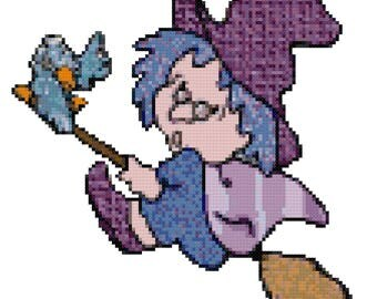 A Witch on A Broom Cross Stitch Pattern