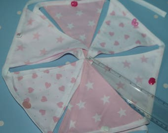 Pretty Pink Hearts and Stars Bunting