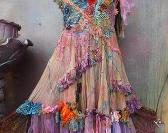 20%OFF RESERVEDwildskin, wedding dress, bridesmaid dress, ,bridesmaid, woodland dress, fantasy dress, gypsy wedding, hippy wedding,Mori girl