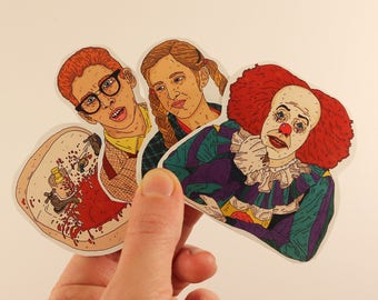 it stickers laptop labels tags penny wise stephen king show 1990 illustration