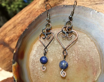 Heart Twist & Lapis Copper Wire Wrap Earrings by VW Gypsy surgical Steel hooks