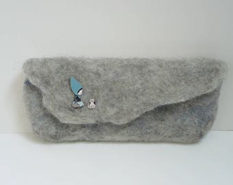 Clutch gray blue Riding Hood and hand felted woolen cat