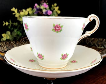 Tea Cup and Saucer, Regency Rose Bud, Bone China Teacup, Made in England  14145
