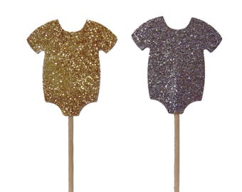 Onesie Cupcake Toppers 12CT, Baby Shower Decorations, Party Supplies - No392