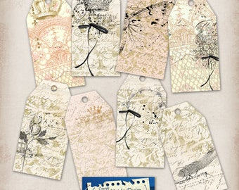 Tags No 135 Vintage French inspired tags Digital Tags Lace tags
