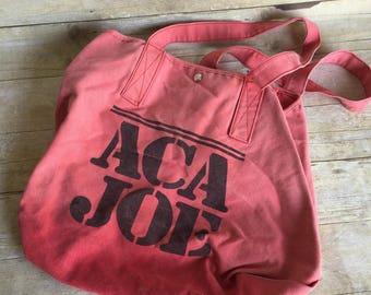 Vintage Reusable Denim Bag - Small Tote - Book Bag - Market Bag - Pink