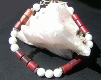 Red Jasper & White Moonstone Magnetic Bracelet