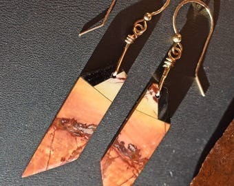 Multicolor Picasso Jasper & Obsidian Intarsia Gold Earrings