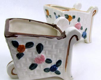 vintage Hand Painted Ceramic Cart Vases Nasco Product Japan