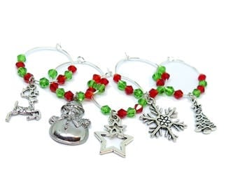 5 Christmas Theme Drink Markers / Wine Glass Charms