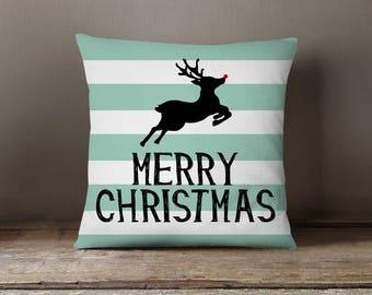 Holiday Pillow, Christmas Pillow, Reindeer, Stripes, Deer Pillow: Leaping Reindeer Deer Stripes Spearmint