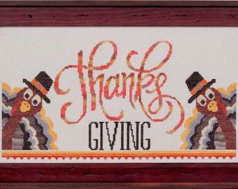 Thanks Giving - Cross Stitch Pattern - Thanksgiving cross stitch pattern - Turkey cross stitch