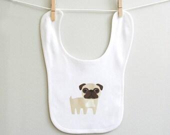 Pug baby bib, pug baby burp bib