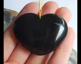 Carved Obsidian Heart Pendant Bead,Heart Pendant,43x33x13mm,23.8g(g0249)