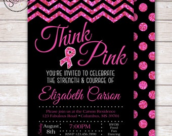 Think Pink Breast Cancer Awareness Party Invitation DIGITAL OR PRINTED