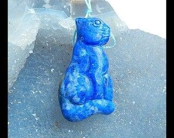 Carved Lapis Lazuli Cat Gemstone Pendant Bead,42x22x9mm,13.81g(Cp009)