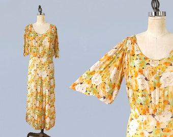 1930s Dress / 30s Sheer Silk Chiffon Floral Dress / Orange Green and Cream Floral Print