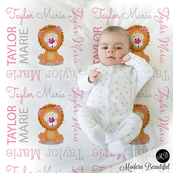 Lion baby blanket baby girl personalized baby gift lion name il570xn negle Images