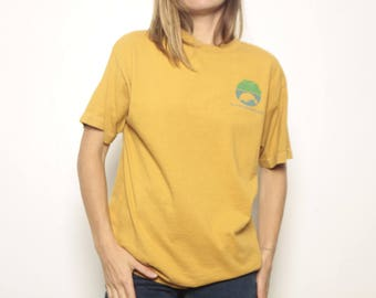 MANATEE vintage FADED yellow t-shirt crew neck ENVIRONMENTALIST slouchy basic normcore shirt