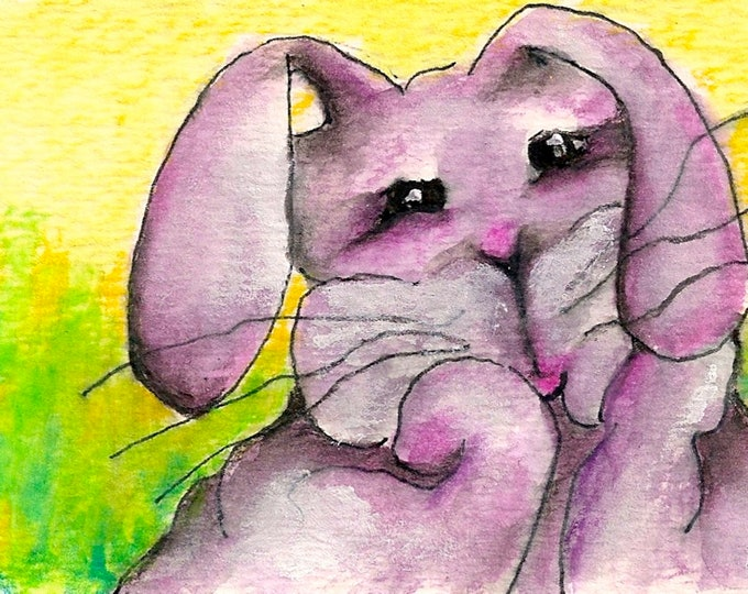 Big Eyed Pink Bunny-Whimsical Art Print by SQ Streater-Free Shipping
