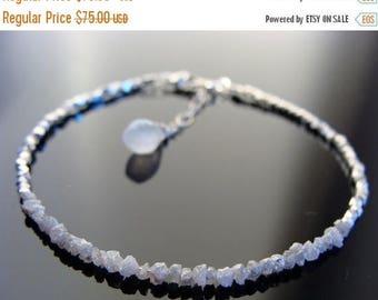 Genuine White Raw Rough Diamond Sterling Silver Bracelet
