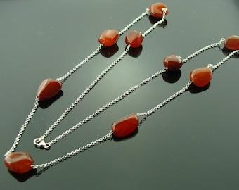 Long Carnelian 925 Sterling Silver Necklace