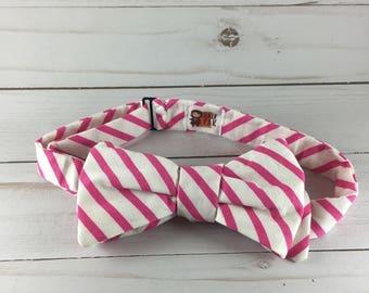 Pink and White Seersucker Adjustable Bow Tie, bow tie for men, men's bow tie, wedding tie, groomsman tie, ties for weddings, gifts for him