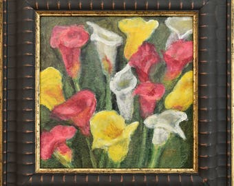 Calla Lily Painting ... Small Framed Art ... Watercolor Flowers ... Floral Art ... Original Watercolor Painting ... Flower Painting